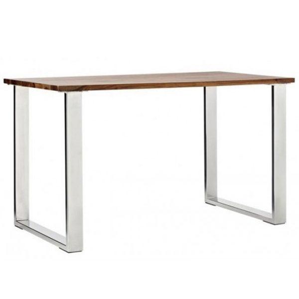 Massive Panel Table With Chrome Metal, Chrome Furniture Legs