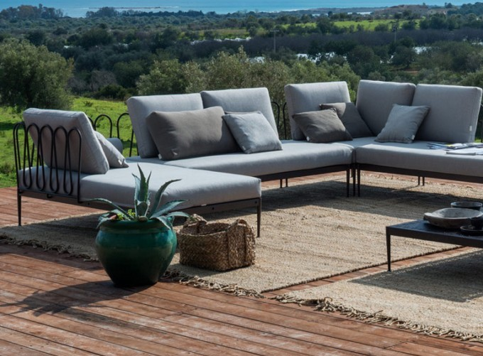Hotel Outdoor Wrought Iron Sofa Set, Wrought Iron Living Room Furniture