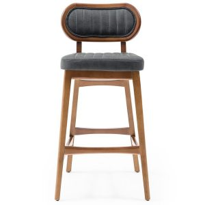 NEO-300358E Wooden Upholstered Bar Chair With Back - 2