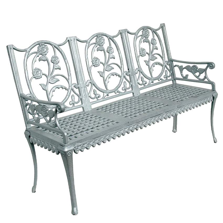Palace Style Aluminum Cast Garden Bench, White Cast Aluminum Garden Benches